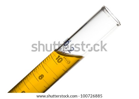 A glass flask with yellow liquid - stock photo