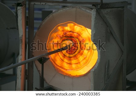 A glass is burning and in a kilns - stock photo
