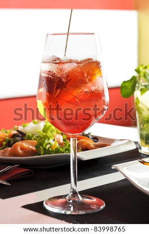 a glass of aperol spritz - stock photo