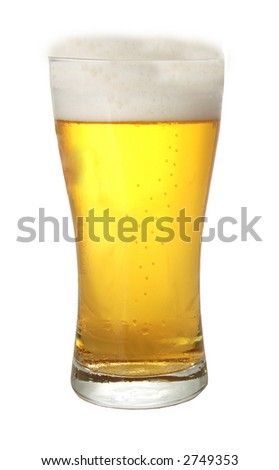 A glass of beer against white background