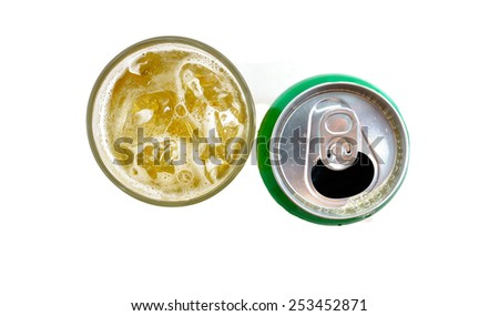 A glass of beer and a beer can isolated on white background. - stock photo
