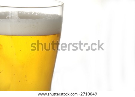A glass of beer in closeup