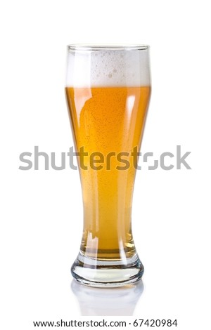 A glass of beer on white background