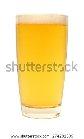 A glass of beer with foam isolated on white background - stock photo