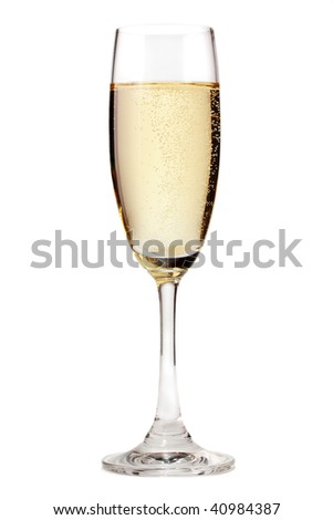 A glass of champagne, isolated on a white background. - stock photo