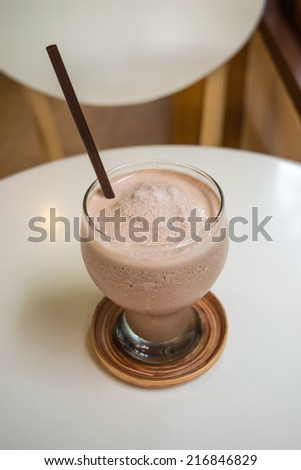 a glass of chocolate smoothies  - stock photo