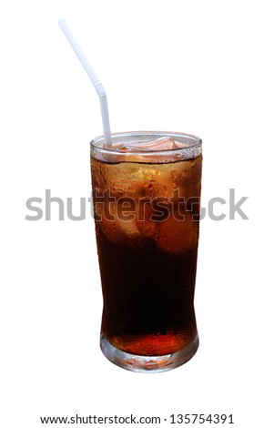 A glass of cola on a table - stock photo