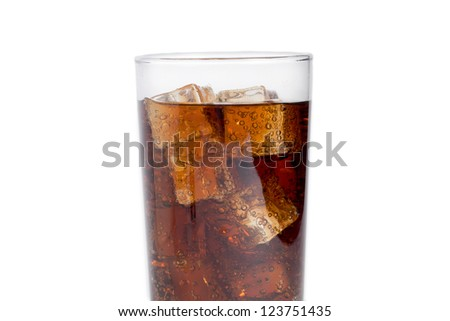 A glass of cola with ice cubes on a white background - stock photo