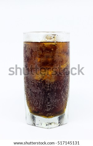 A glass of cold fresh cola with ice cubes isolated on white background