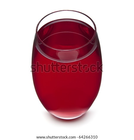 a glass of cranberry juice on white background, from above