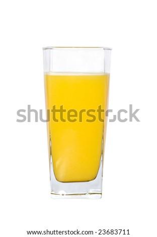 A glass of fresh orange juice, isolated - stock photo