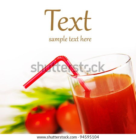 a glass of fresh tomato juice  (With sample text) - stock photo
