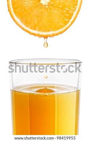 A glass of freshly squeezed orange juice - stock photo