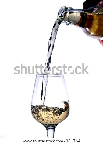 a glass of gold beverage on white background - stock photo