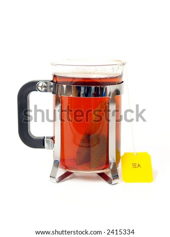 A glass of hot English tea over white background - stock photo