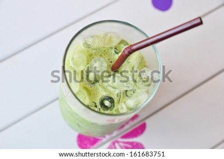 A glass of ice green tea