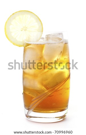 A glass of ice lemon tea, drink, isolated on white background - stock photo