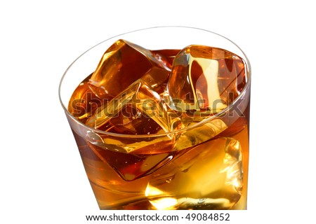 A glass of ice tea isolated on white background - stock photo