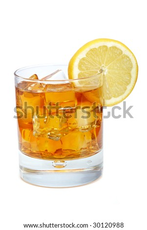 A glass of ice tea with lemon slice isolated on white background. Shallow depth of field