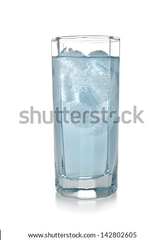 a glass of ice water on a white background