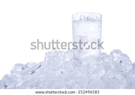 A glass of iced water and ice cubes