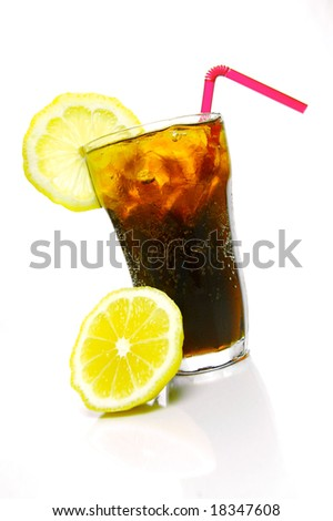 A glass of lemon cola isolated against a white background