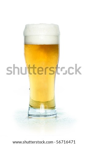 A glass of light beer isolated on white background with clipping path