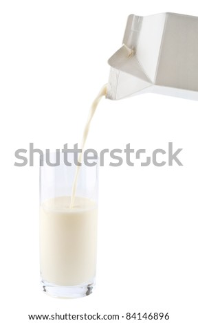 A glass of milk. Pouring milk on white background, with clipping path