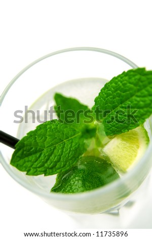 A glass of mojito cocktail (focus on the lemon)