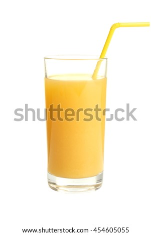 a glass of orange juice on white isolated background