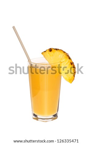 A glass of pineapple juice with drinking straw and a slice of pineapple on the rim of the glass isolated on white background - stock photo