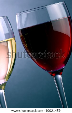 a glass of red and a glass of white