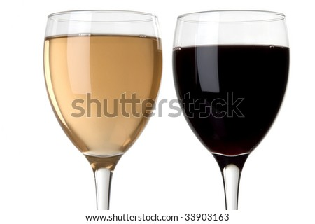 a glass of red and a glass of white wine