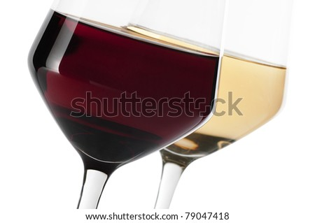 A glass of red and white wine isolated on white background - stock photo