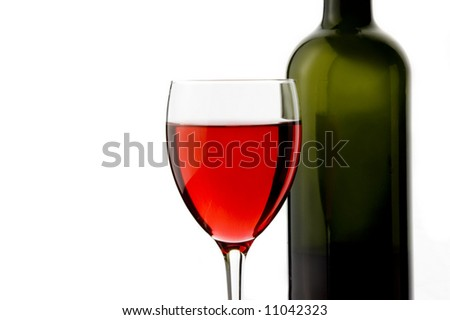 a glass of red wine a bottle