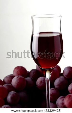 a glass of red wine and grape