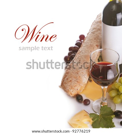 a glass of red wine and grape over white (with sample text) - stock photo