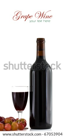 A glass of red wine and grapes on white background with copy space. - stock photo