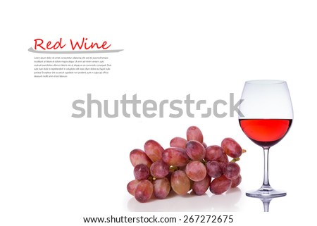 A Glass of Red Wine and Red Grape Isolated on a White Background. Copy Space. - stock photo