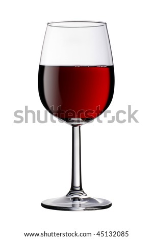 A glass of red wine isolated against a pure white background. Clipping path is included - stock photo