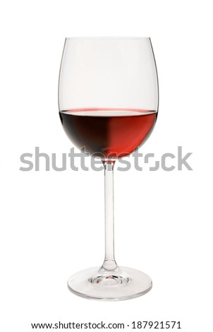 A glass of red wine isolated in front of white background.