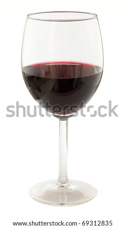 A glass of red wine isolated on a white background - stock photo