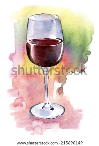 A glass of red wine on an artistic watercolour background - stock photo