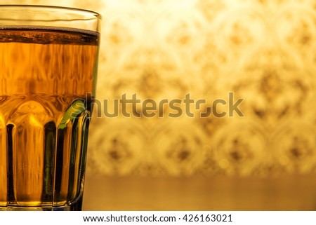 a glass of sparkling water - stock photo