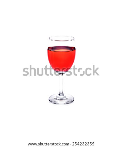 a glass of strawberries on white background