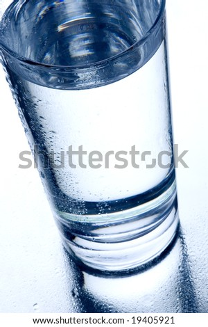 a glass of water on a mirror