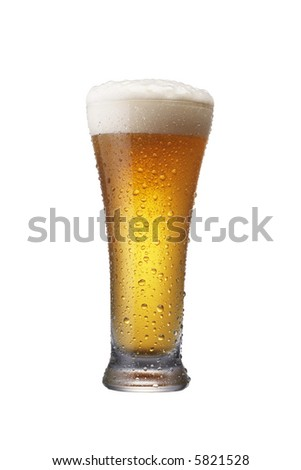 a glass of wheat beer isolated