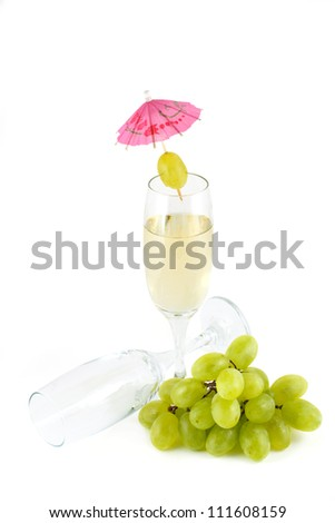 A glass of white wine and empty glass isolated on a white background - stock photo