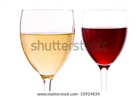 a glass of white wine and  glass of red wine