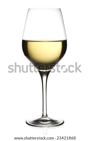 A glass of white wine, isolated on white background